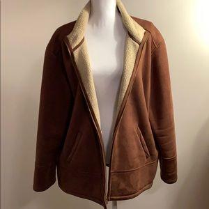 Ralph Lauren Faux Suede Cocoa Brown Coat 1X